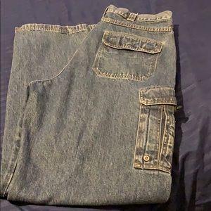 Wrangler high waisted cargo men's jeans dark wash